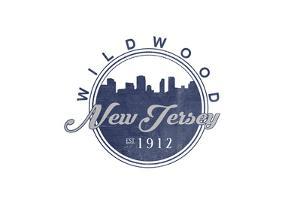 Wildwood, New Jersey - Skyline Seal (Blue) by Lantern Press