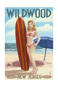 Wildwood, New Jersey - Surfing Pinup Girl by Lantern Press
