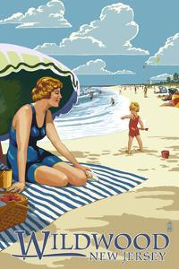 Wildwood, New Jersey - Woman on the Beach by Lantern Press