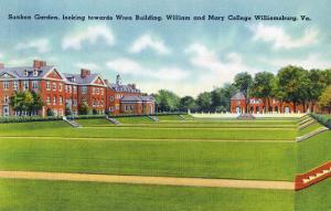 Williamsburg, VA, William and Mary College View of the Sunken Garden, Wren Building by Lantern Press