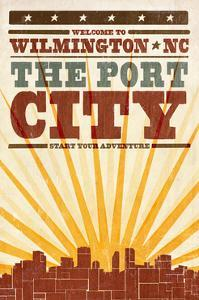 Wilmington, North Carolina - Skyline and Sunburst Screenprint Style by Lantern Press