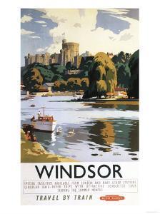 Windsor, England - British Railways Windsor Castle Thames Poster by Lantern Press