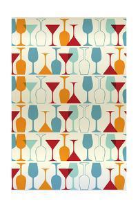 Wine and Martini Glass Pattern by Lantern Press