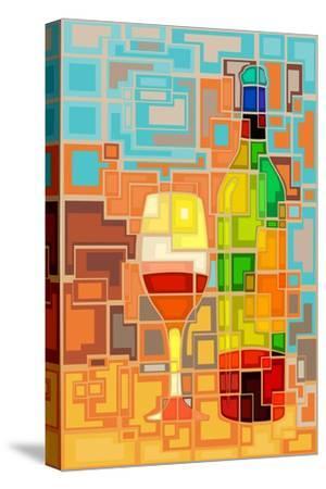 Wine Bottle and Glass Geometric