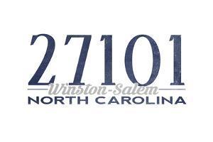 Winston-Salem, North Carolina - 27101 Zip Code (Blue) by Lantern Press