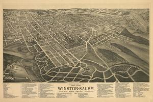 Winston-Salem, North Carolina - Panoramic Map by Lantern Press