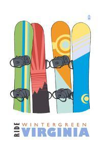 Wintergreen, Virginia - Snowboards in Snow by Lantern Press