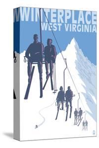 Winterplace, West Virginia - Skiers on Lift by Lantern Press