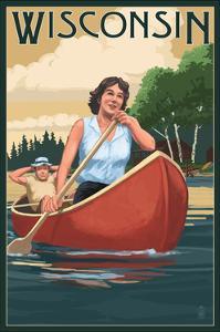 Wisconsin - Canoers on Lake by Lantern Press