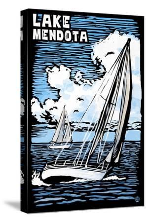 Wisconsin - Lake Mendota - Sailboat - Scratchboard