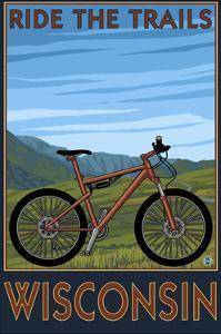 Wisconsin - Mountain Bike Scene - Ride the Trails by Lantern Press