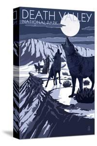 Wolves and Full Moon - Death Valley National Park by Lantern Press