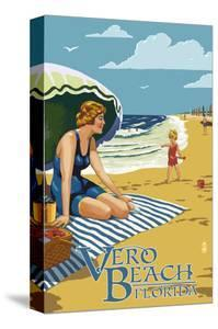 Woman and Beach Scene - Vero Beach, Florida by Lantern Press