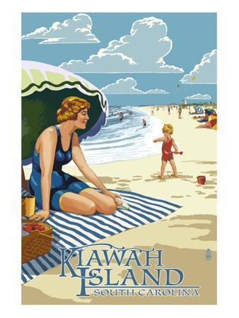 Woman on Beach - Kiawah Island, South Carolina by Lantern Press