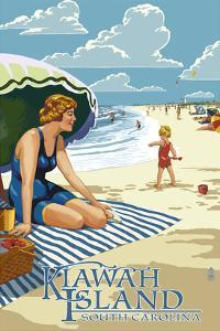 Woman on Beach - Kiawah Island, South Carolina by Lantern Press