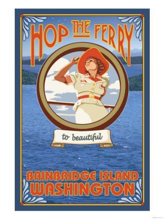 Woman Riding Ferry, Bainbridge Island, Washington by Lantern Press