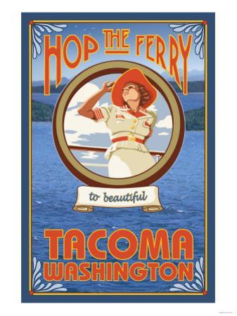 Woman Riding Ferry, Tacoma, Washington by Lantern Press