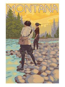 Women Fly Fishing, Montana by Lantern Press