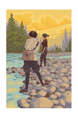 Women Fly Fishing Scene by Lantern Press