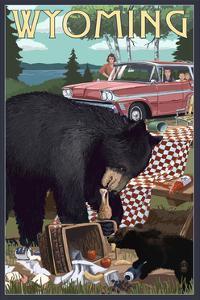 Wyoming - Bear and Picnic Scene by Lantern Press