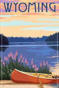 Wyoming - Canoe and Lake by Lantern Press