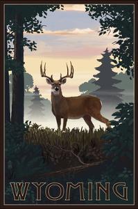 Wyoming - Deer and Sunrise by Lantern Press