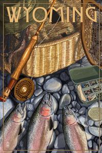 Wyoming - Fishing Still Life by Lantern Press