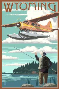 Wyoming - Float Plane and Fisherman by Lantern Press