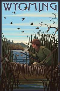 Wyoming - Hunter and Lake by Lantern Press