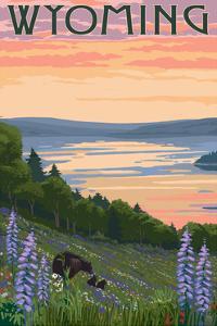 Wyoming - Lake and Bear Family by Lantern Press