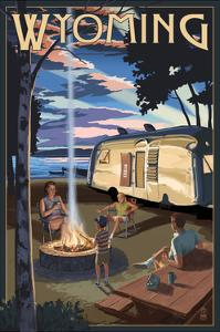 Wyoming - Retro Camper and Lake by Lantern Press