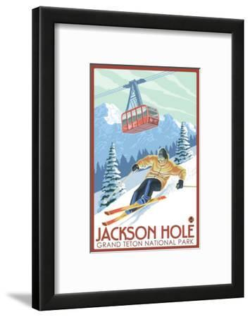 Wyoming Skier and Tram, Jackson Hole