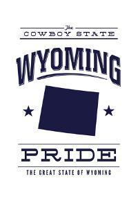 Wyoming State Pride - Blue on White by Lantern Press