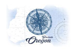 Yachats, Oregon - Compass - Blue - Coastal Icon by Lantern Press