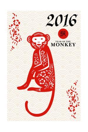 Year of the Monkey - 2016 - Vertical Pattern by Lantern Press