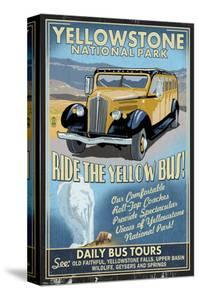 Yellow Bus - Yellowstone National Park by Lantern Press