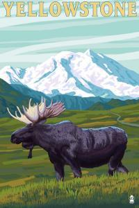 Yellowstone Nat'l Park - Moose & Mountain by Lantern Press