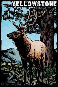 Yellowstone National Park - Elk - Scratchboard by Lantern Press