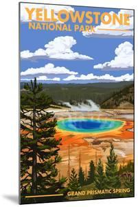 Yellowstone National Park - Grand Prismatic Spring by Lantern Press