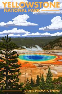 Yellowstone National Park - Grand Prismatic Spring by Lantern Press