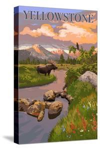 Yellowstone National Park - Moose and Meadow Scene by Lantern Press