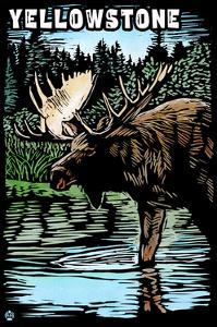 Yellowstone National Park - Moose Scratchboard by Lantern Press