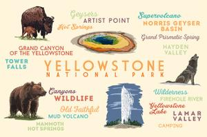 Yellowstone National Park - Typography and Icons by Lantern Press