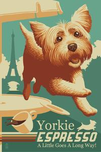 Yorkshire Terrier - Retro Yorkie Espresso Ad by Lantern Press