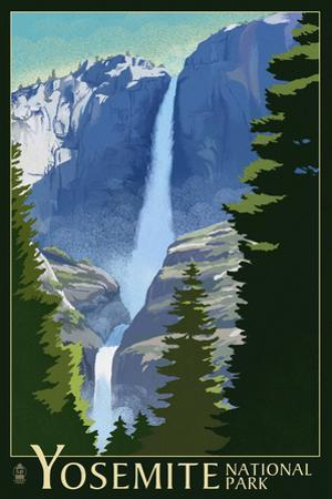 Yosemite Falls - Yosemite National Park, California Lithography
