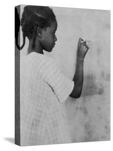 Young African American Girl at Chalkboard Photograph - Marlington, WV by Lantern Press