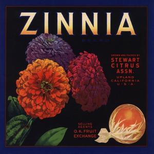 Zinnia Brand - Upland, California - Citrus Crate Label by Lantern Press