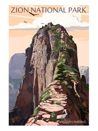 Zion National Park - Angels Landing and Condors by Lantern Press