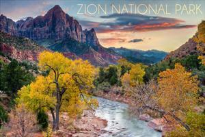 Zion National Park, Utah - Watchman as the Virgin River by Lantern Press