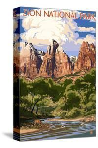 Zion National Park - Virgin River and Peaks by Lantern Press